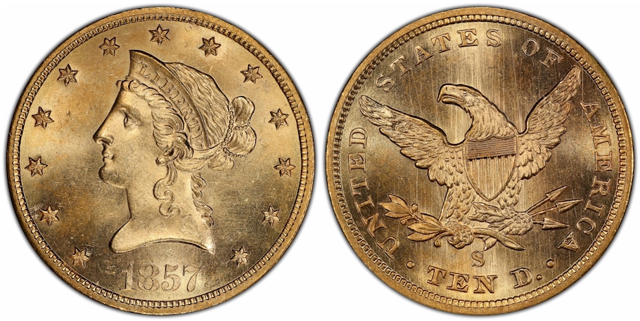 $10 Gold 1857 S