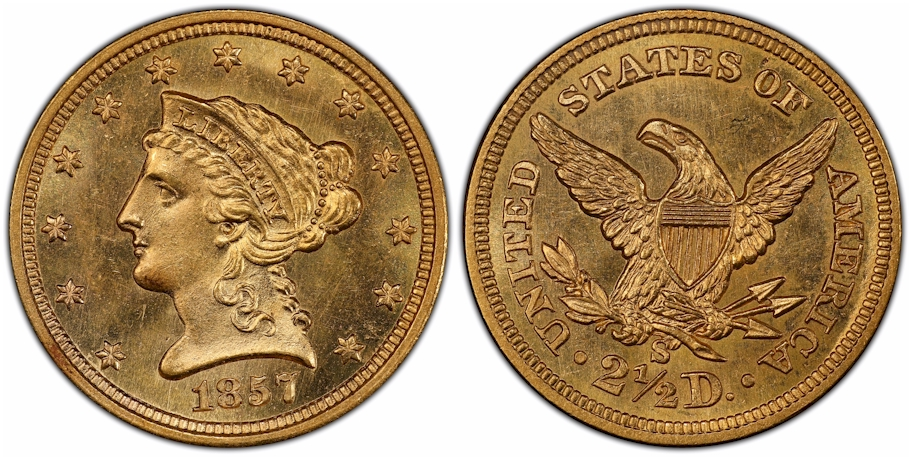 $2½ Gold 1857 S