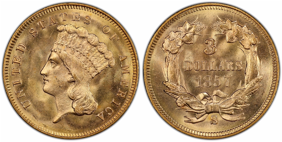 $3 Gold 1857 S